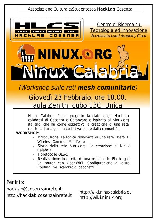 1° Workshop Ninux Calabria