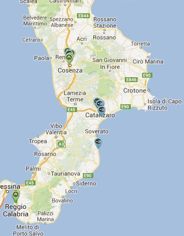 La situazione di Ninux Calabria ad Agosto 2013.
