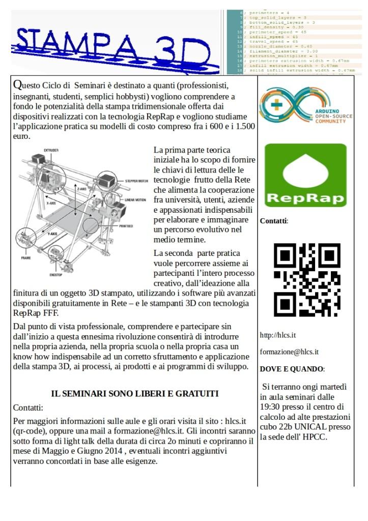 Locandina Ciclo seminari stampa 3d