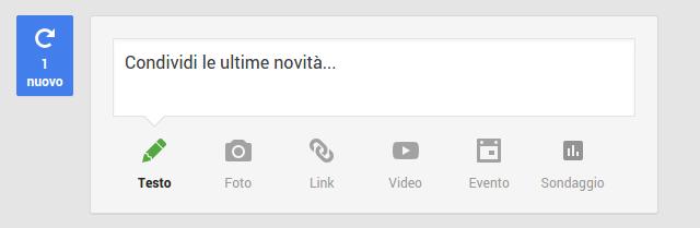 La bolla blu indica che c'è un nuovo post disponibile.
