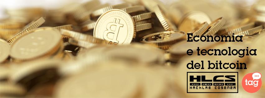 Locandina del seminario Economia e Tecnologia del bitcoin al TAG Cosenza