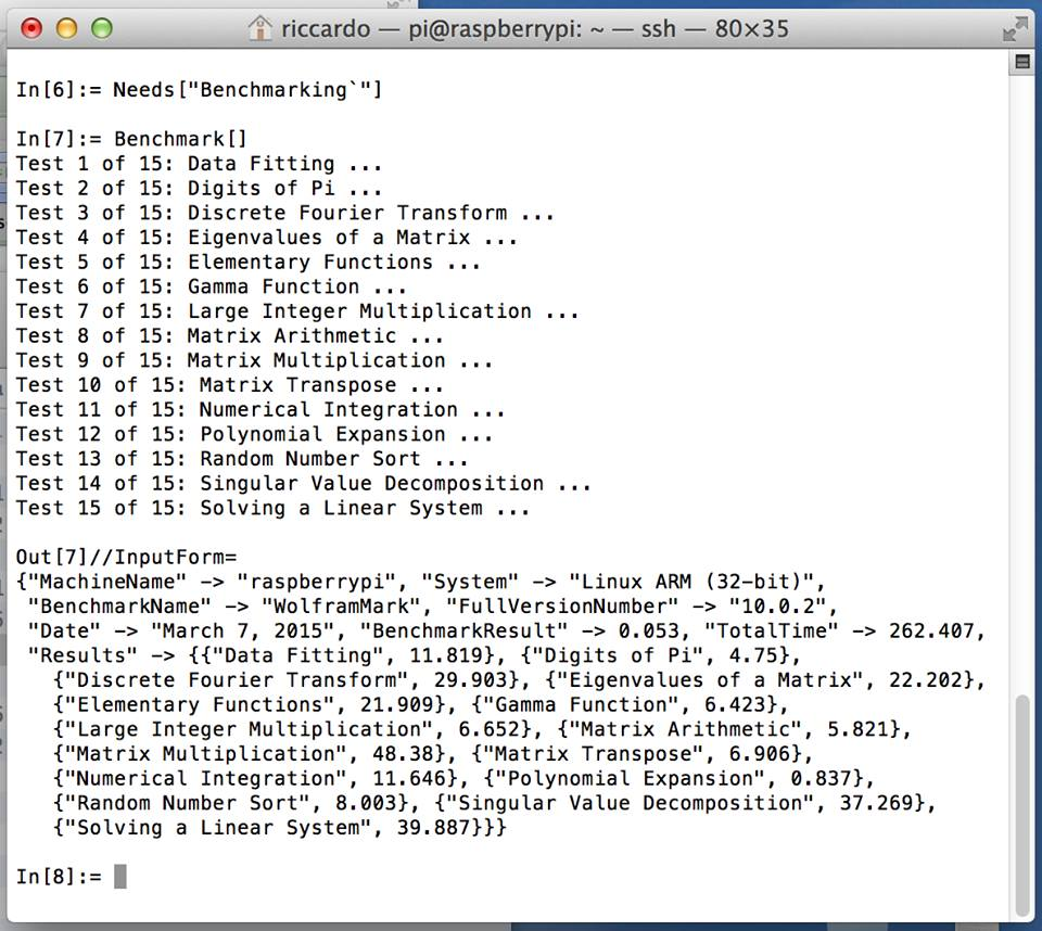 Raspberry Mathematica codice