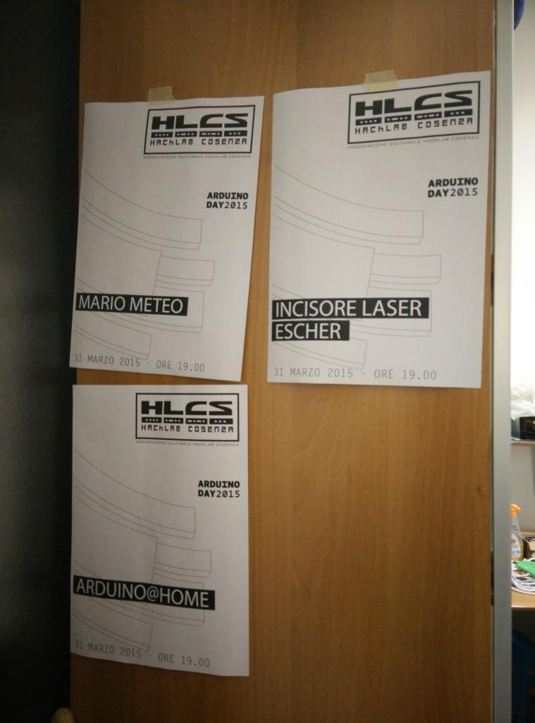 """Alcuni dei progetti presentati dall'Hacklab: MarioMeteo, il laser engraver """"Escher"""" curato da Sergio+Ettore e l'ABC di Domotica di Thoniorf."""