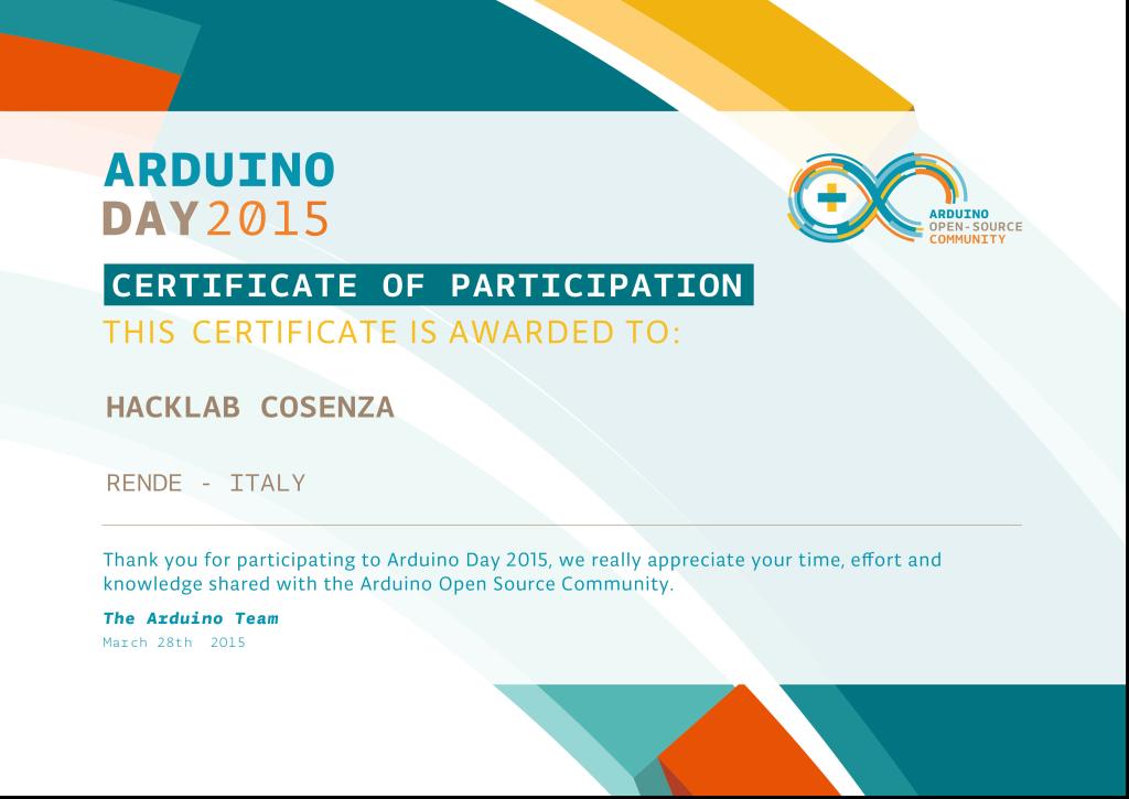 Certificato per gli #AD15 Organizer